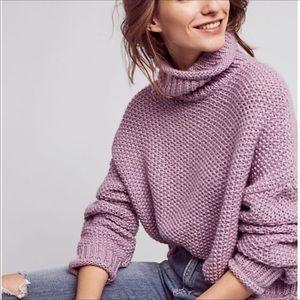 Anthro Moth Lavender Wool Blend Crop Sweater